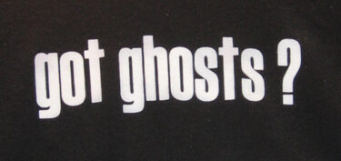 """White words on black background saying """"Got ghosts?"""""""