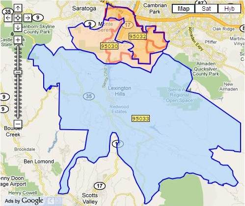 Los Gatos zip code maps