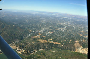 Los Gatos - aerial view from over Lexington Reservoir