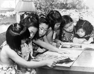 Ming Quong Girls, historic photo on marketing material for exhibit at the History Museum of Los Gatos