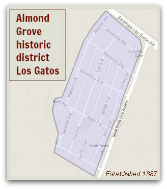 Map of the Almond Grove historic district in Los Gatos