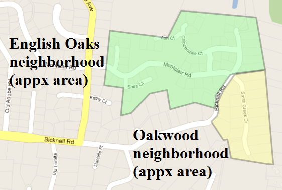 English Oaks and Oakwood neighborhoods in Los Gats