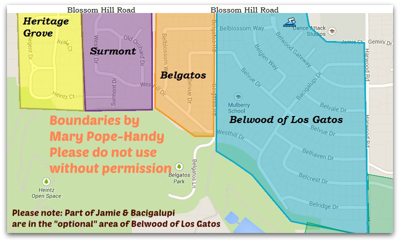 Heritage Grove, Surmont, Belgatos, Belwood of Los Gatos map of subdivision areas - east Los Gatos