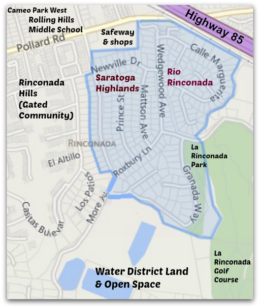 Saratoga HighlandsRio Rinconada and nearby Los Gatos neighborhood