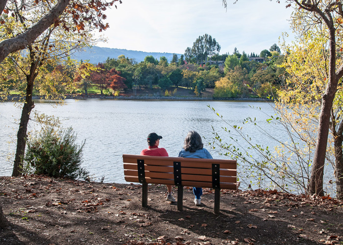 Los Gatos Vasona Park Couple admiring lake 700x500 - Photos of Los Gatos