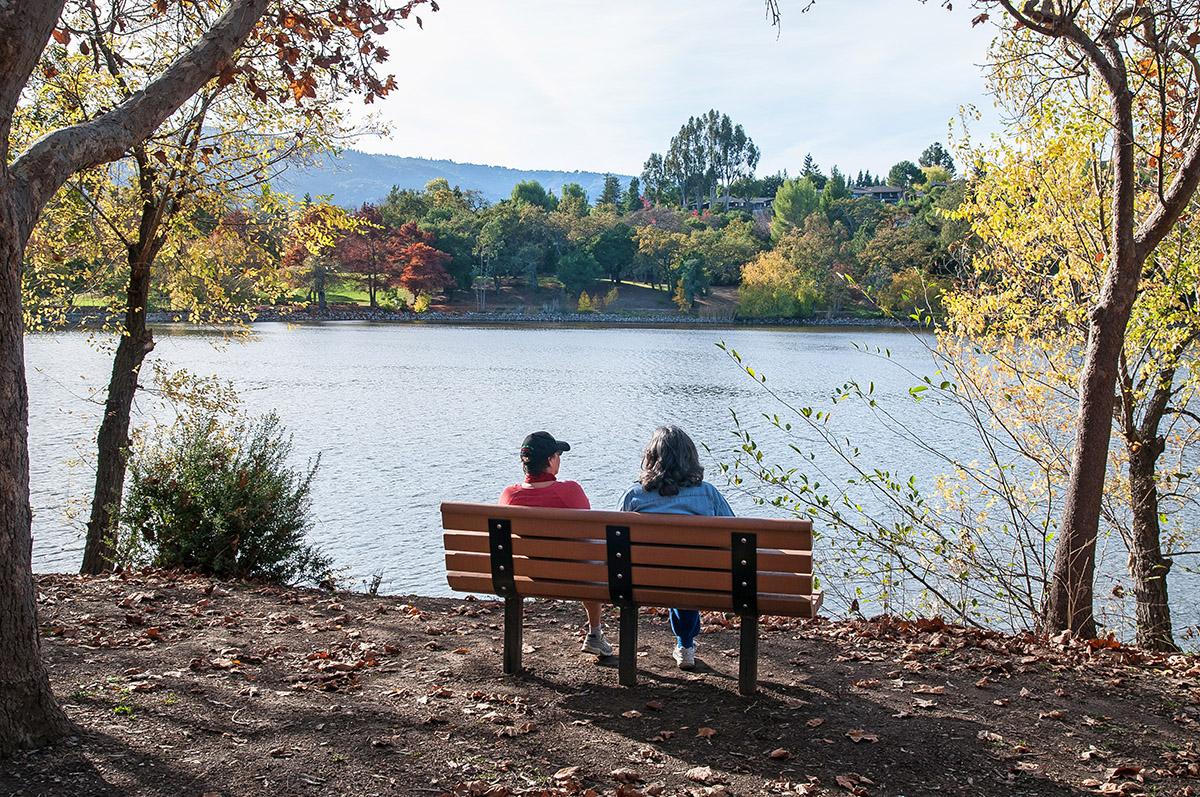 Los Gatos Vasona Park Couple admiring lake - Photos of Los Gatos