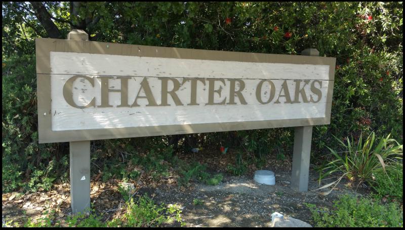 Charter Oaks sign at Lark Avenue