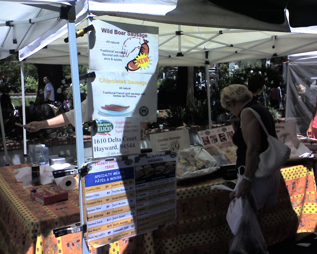 Farmers Market wild boar sausage - Visit the Los Gatos Farmer's Market!