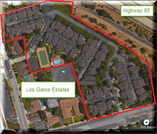 Los Gatos Estates - map of appx boundaries