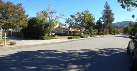Pretty street with hills in the background - Loma Vista, El Gato, Rancho Padre subdivisions in east Los Gatos