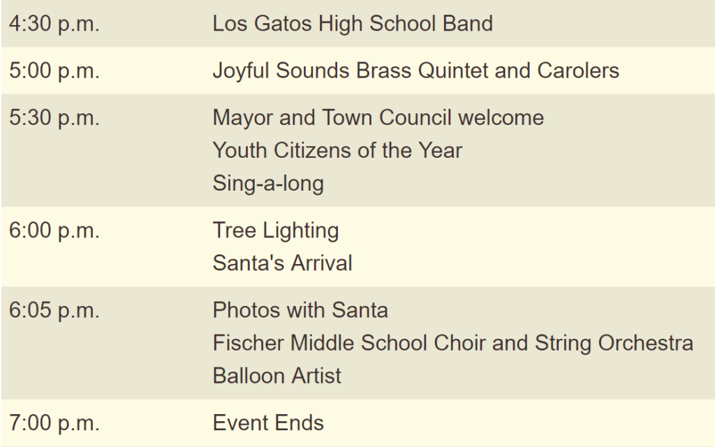 Tree lighting schedule