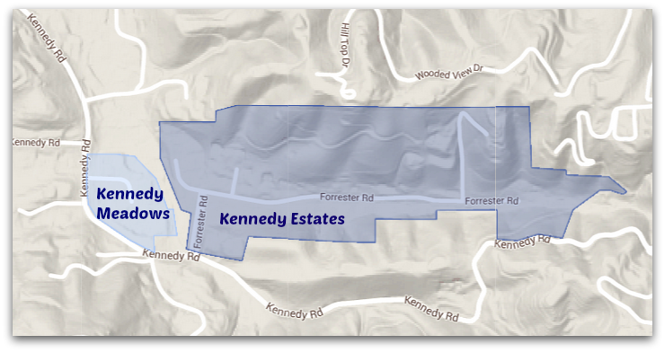 Kennedy Meadows and Kennedy Estates in east Los Gatos