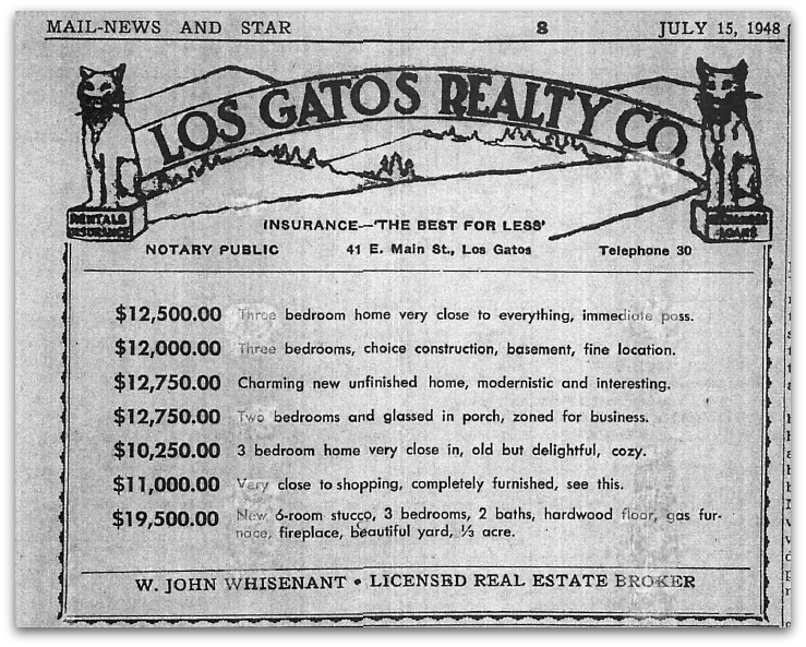 July 15, 1948 Los Gatos Real Estate Ad