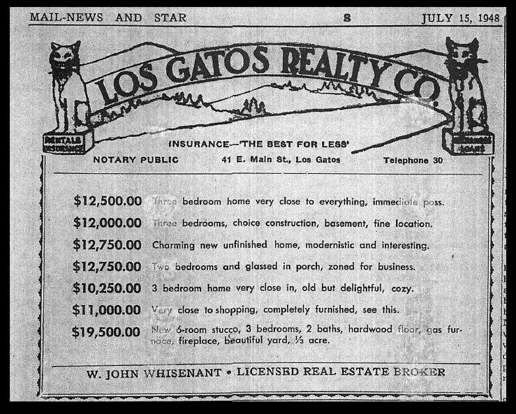 July 15, 1948 Los Gatos Real Estate Ad