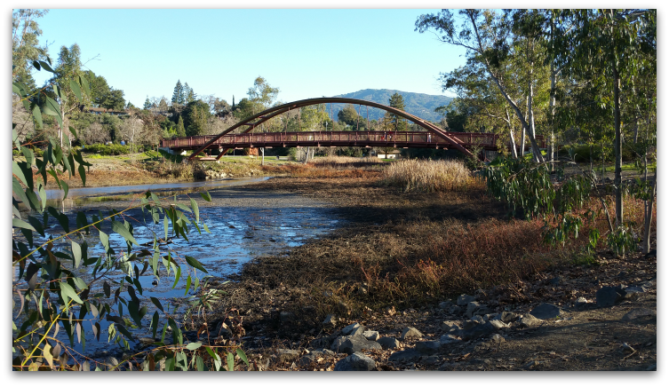 Bridge at Vasona Lake County Park, Los Gatos - with the hill called El Sombroso in the background,