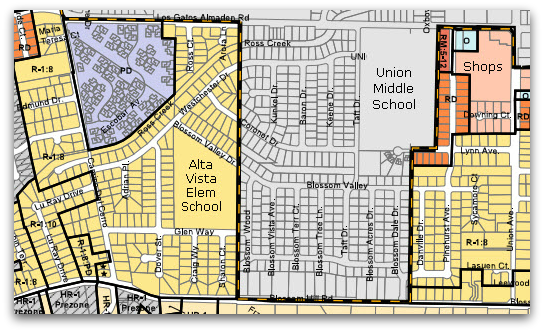Alta Vista neighborhood: both San Jose and Los Gatos