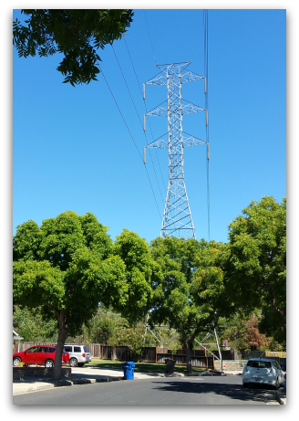 High voltage power lines in north Los Gatos