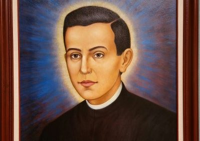 Painting of Blessed Miguel Pro, SJ at the Jesuit Novitiate in Los Gatos - a marytr for the faith, killed in Mexico