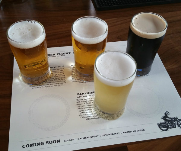 A flight of beer - $12 for the sampler, and worth every penny.