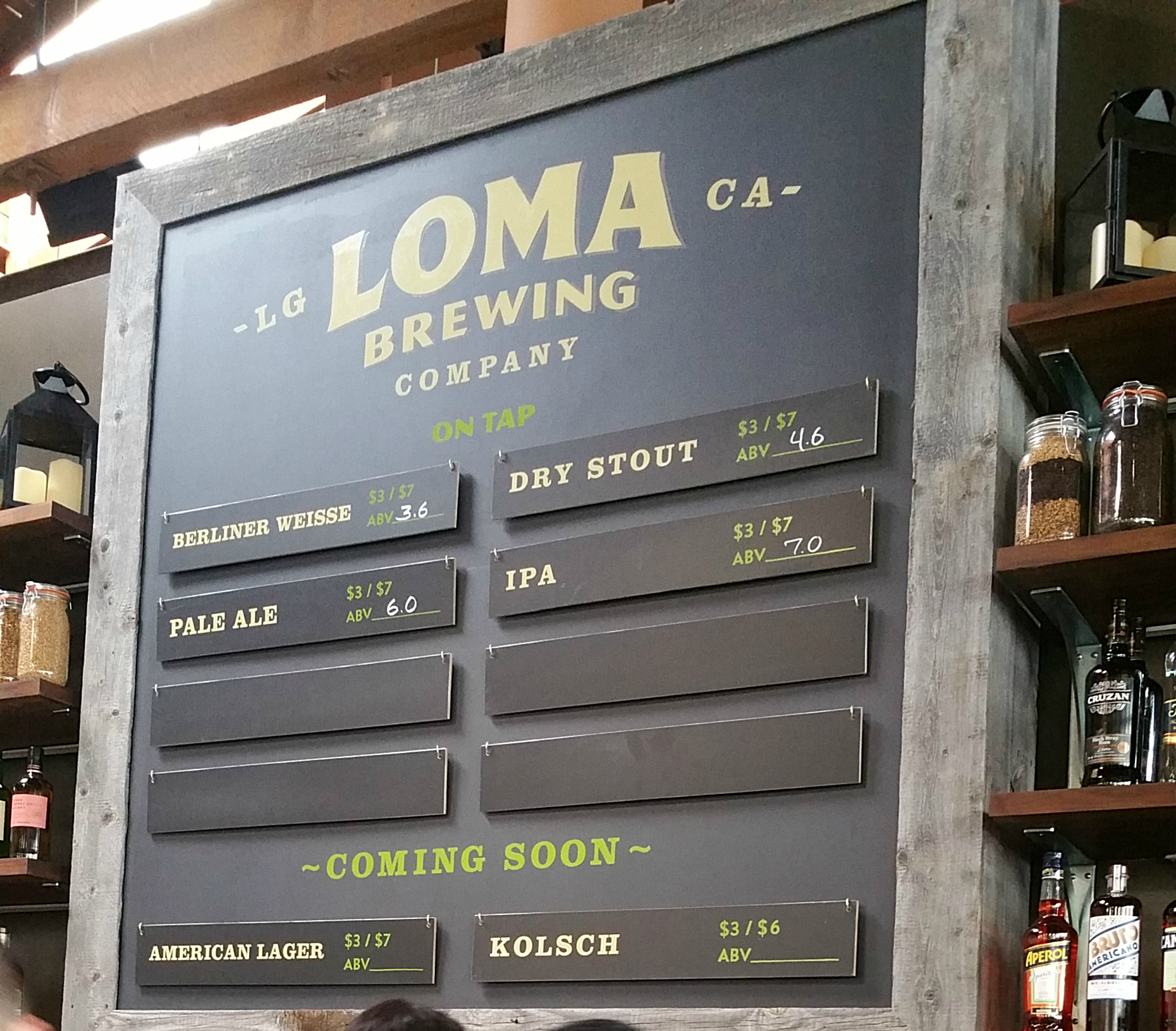 Loma Brewing Company beer menu - Loma Brewing Company Grand Opening