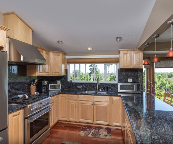 Granite counters and a scenic window by the sink.