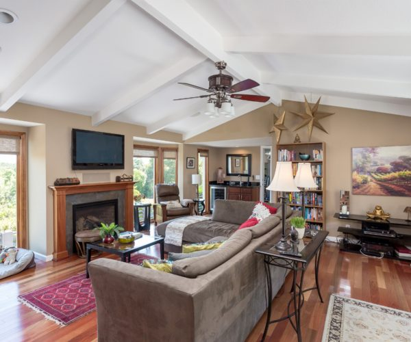 Vaulted ceilings in a grand family room