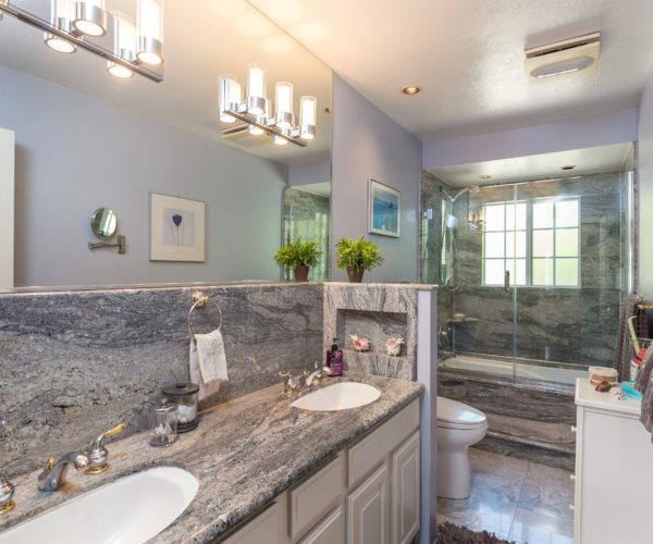 The renovated hall bathroom at 211 Westhill Drive