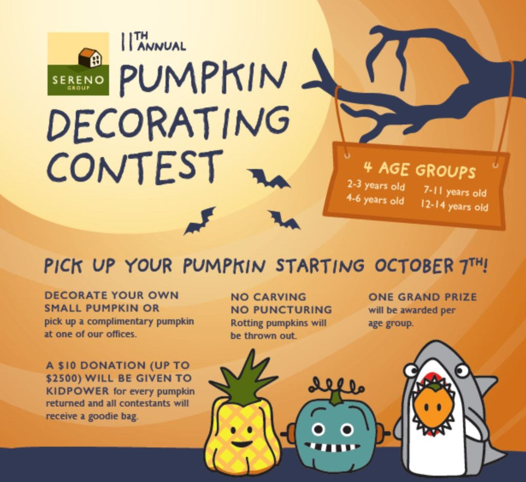 Sereno Group pumpkin decorating contest info 2019