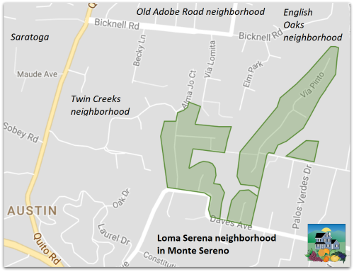 Map of the Loma Serena neighborhood in Monte Sereno