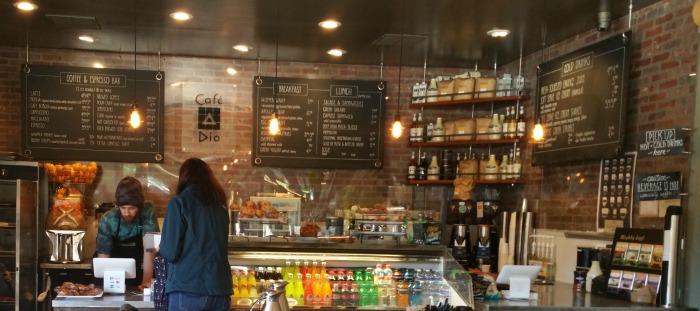 Café Dio wall menu and counter