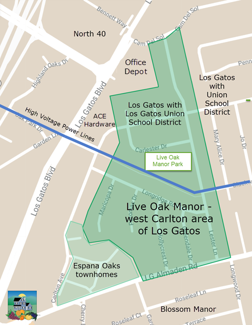 Neighborhood map for Live Oak Manor and west Carlton area