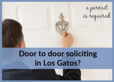 Photo of man knocking on front door with information that door to door soliciting in Los Gatos requires a permit
