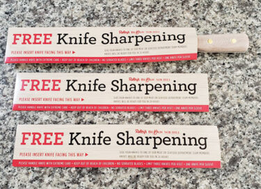 Sleeves for free knife sharpening at Nob Hill grocery story