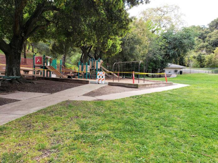 Belgatos Park playground closed Covid-19 - side view