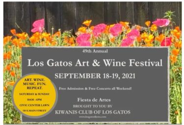 Los Gatos Art & Wine Festival poster (formerly known as the Fiesta de Artes) for S ept 18-19, 2021