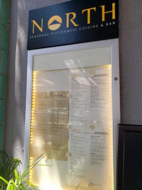 menu at North Vietnamese restaurant in Los Gatos