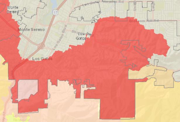 Cal Fire map of hazard severity zones