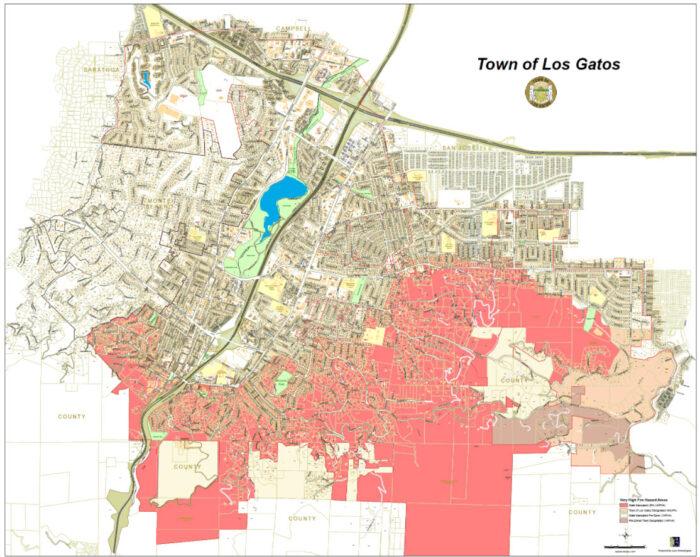 Los Gatos - defensible space zones for fire risk mitigation